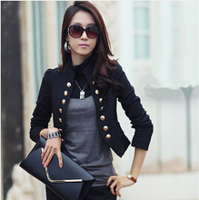 New 2015 Blazer Women Spring Slim Blazer Double Breasted Top Short Design Plus Size Blazer Jacket Female Suit & Women Work Wear