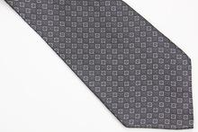 NT0442 Black Gray Plaids Checks Ties Jacquard Woven Smooth Classic Silk Polyester Man s Casual Necktie