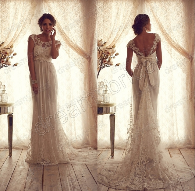 Sexy Cap sleeves vestido de noiva 2015 anna campbell wedding dress New Fashion bride dress Custom made size Free shipping