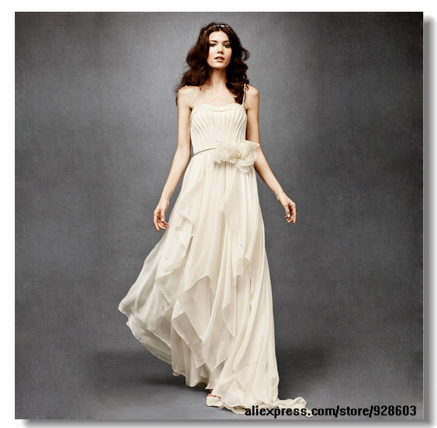 Layered Wedding Dresses : Latest beautiful bohemian spaghetti layered chiffon