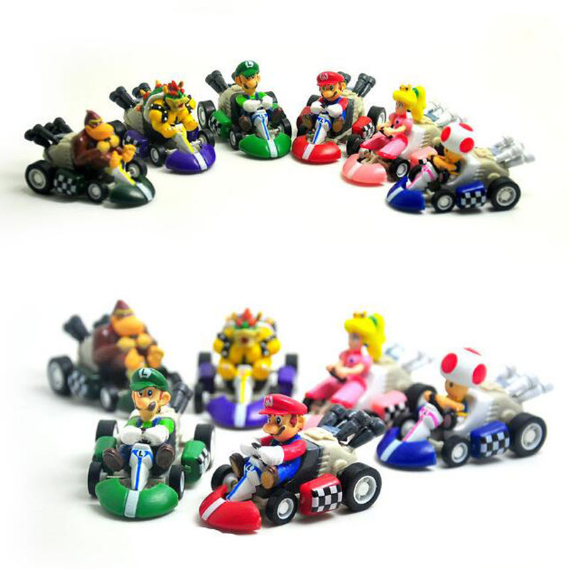 6pcs/Lot 5cm Super Mario Bros Karts Pull Back Cars PVC Action Figure Collection Model Toys Dolls Christmas Gift(China (Mainland))