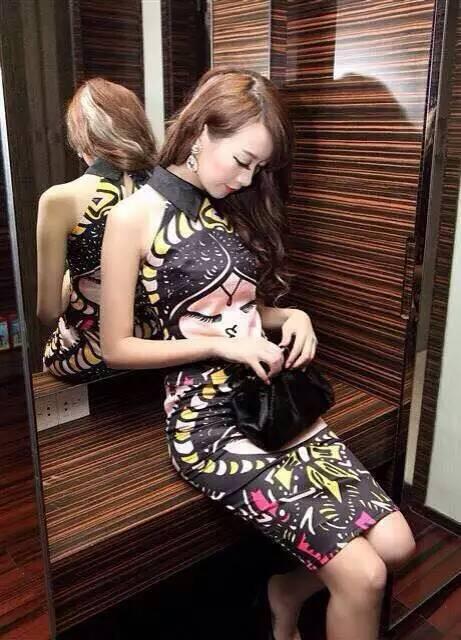 XJ395Sexy Club Dress 2015 High Quality Vintage Lapel Sleeveless Cheongsam Style Doll Shirt + Skirt Suit Pencil Dresses(China (Mainland))