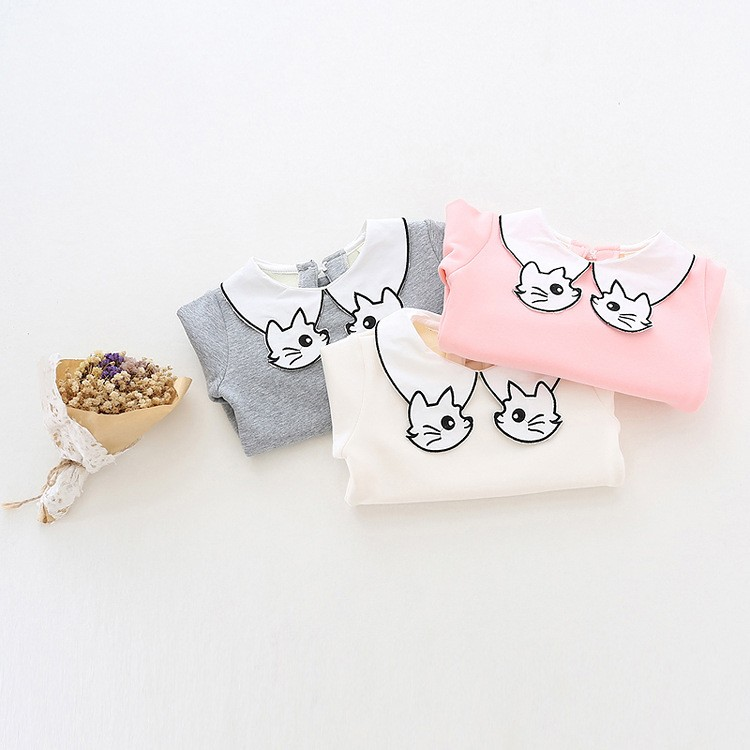 2017 New Girls Cute Cat Turn Down Collar Fleece Long-Sleeve Bottoming Shirt Kids Autumn Cartoon Solid Boluses Child Casual Tops