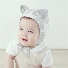 Baby Infant Headwear Hat cute cat ears  Newborns Baby Hat Cap with tie for boys and girls gift(China (Mainland))