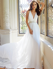 Sexy Weiß Brautkleider 2016 Casamento Robe De Sleeveless V-ausschnitt Chiffon Perlen Vintage Brautkleid Kleider vestido de noiva(China (Mainland))