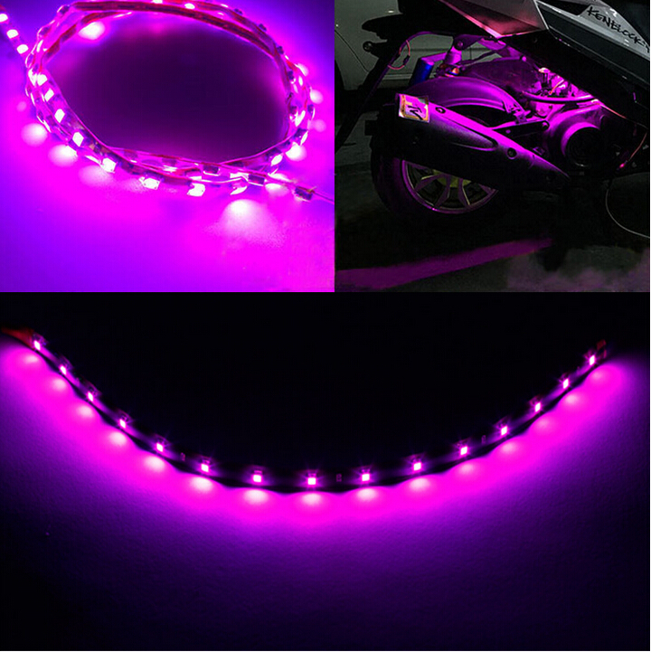 New 5Pcs 30cm pink waterproof Light 5050 15 SMD High Power Flexible LED Car Strips Car light source(China (Mainland))