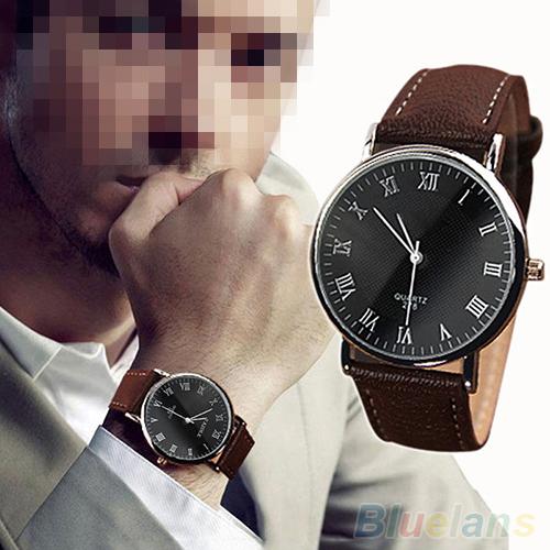 Men s Roman Numerals Faux Leather Band Quartz Analog Business Wrist Watch 2MZH