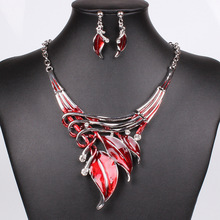 2016 Red Jewelry Sets Enamel Jewelry Statement Necklace and Earring Set Crystal Jewelry Set Fashion Leaves Nickel Free(China (Mainland))