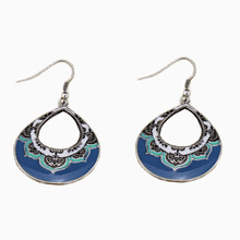 Vintage Oil Drip Blue Flower Ethnic Loop Dangle Earrings Bohemia Style Boho Christmas Gift Jewelry AE025 - DouVei Factory Outlets store