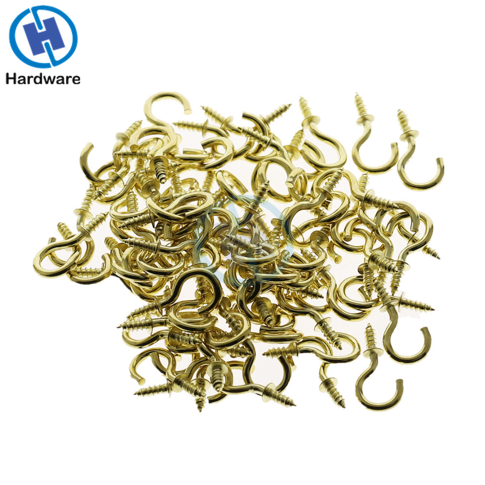 50mm Coat Cup HOOKS BRASS PLATED SCREW IN SHOULDERED 15mm