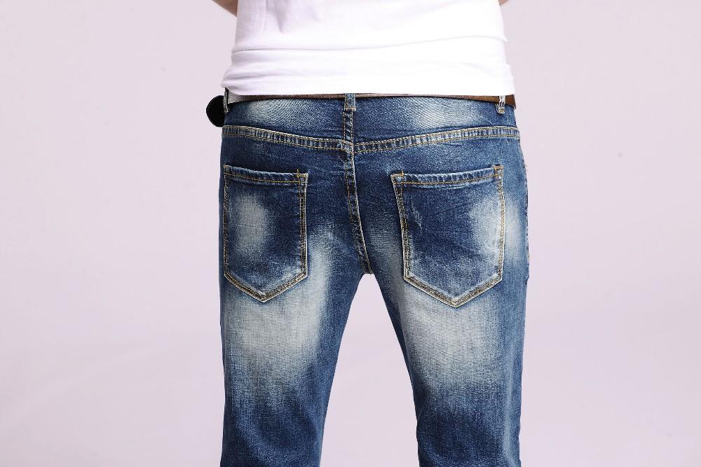2016 new arrival men designer skinny  ripped jeans homme mens biker Slim Cotton Pants straight Light blue Trousers#YZ6603