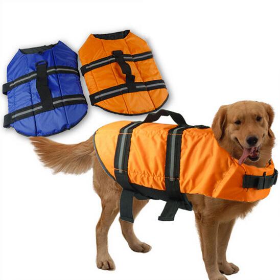 Waterproof Large Dog Vest Hot Pet Cat Dog Clothing Life Jackets Swimming Vest Rescue Dog Clothes Size S -XL Blue Coat and Jacket(China (Mainland))