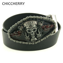 Buy New Fashion Male Lucky 13 Skull Mens Belt Buckle Metal Punk Rock Style Black Brown Pu Leather Belts Men Jeans Accessories for $11.23 in AliExpress store
