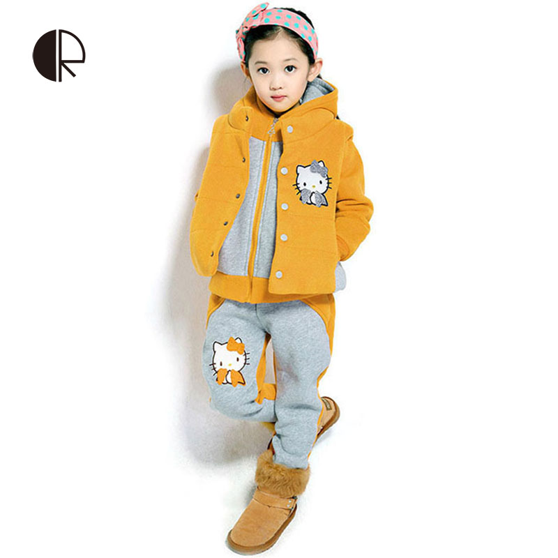 Free Shipping 2014 Winter New Arrivals Fashional Grils Warm Hello Kitty Pattern Three Pieces Suit Children Outerwear Set KS098(China (Mainland))