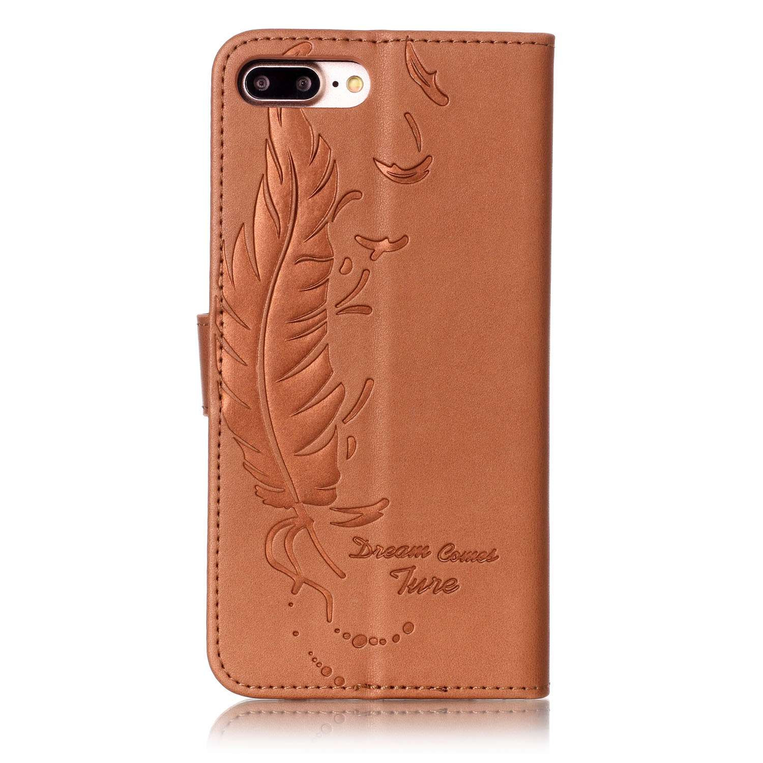 Feather Style Luxury PU Leather Flip Case For iPhone 6 6S Plus 7 Plus Sided Embossing Phone Cover Case For iPhone Apple 5 5S SE