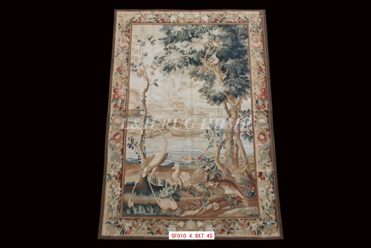 Free shipping 100% Aubusson Tapestry / arras,Aubusson woolen tapestry, handmade tapestry(China (Mainland))