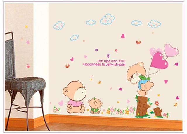 Приходят винил стена наклейка комикс влюбленность медведь для дома декор стена наклейки для детей номеров дети для спальня декор