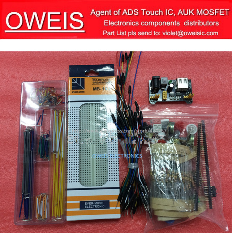generic parts package Arduino kit + 3.3V/5V power module+MB-102 830 points Breadboard +65 Flexible cables+ jumper wire box - Oweis Electronics (HK store)
