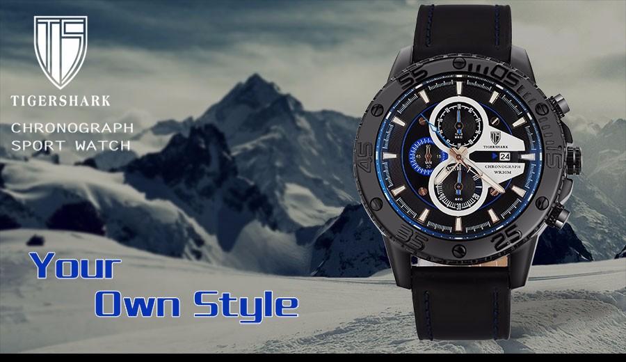 2016 TIGERSHARK китай марка световой bluedial часы мужчины спорт хронограф 30 М водонепроницаемый дата натуральная кожа наручные часы