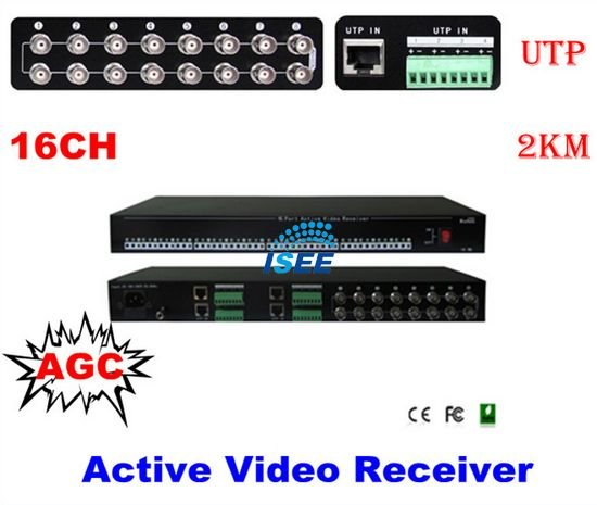16 Channels AGC Active Video Receiver Hub CCTV UTP Balun RJ45 CAT5e/6 Cable 2KM FREE SHIPPING(China (Mainland))