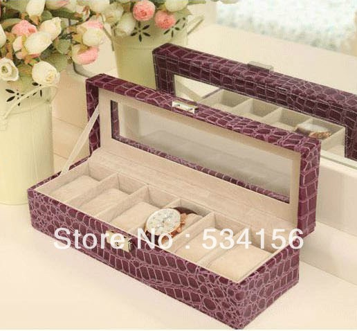 Sales promotion Purple Glass surface Professional luxury leather watch boxes, can fit into a 6 watches watch box gift box ,(China (Mainland))