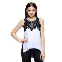 Женская о пуловер кружева шифон рубашка топы лето женская блузка Большой размер женские блузки новинка нерегулярные стиль