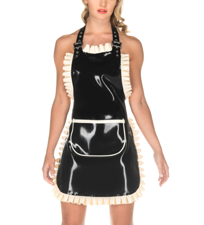 Women's Latex full-length traditional style latex apron Latex Frilly Apron(China (Mainland))