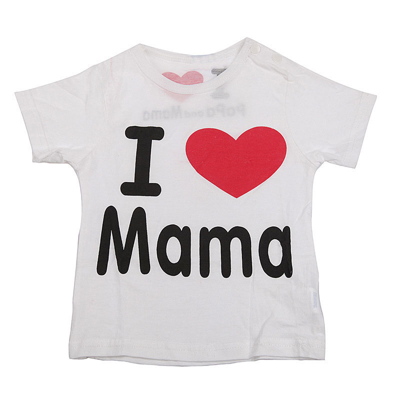 T Shirt I Love Papa Mama Children's Clothing t-shirt children t-shirts for girls boys Tops Kids baby boy girl clothes(China (Mainland))