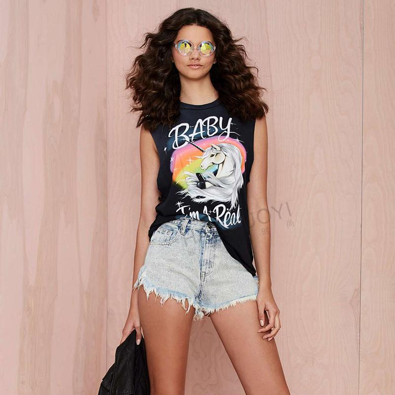 Artsun Unicorn Letters Printed Sleeveless T Shirt Summer Style Womens Tops Plus Size O-Neck t-shirt Women XS-XXL A29040(China (Mainland))