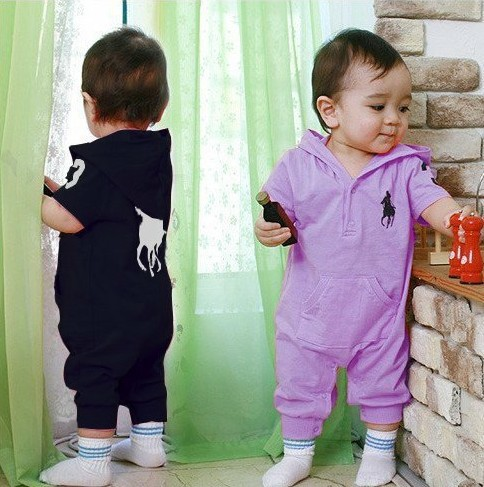 Summer Multi-Colors Newborn Baby Ruffle Polo Hooded Romper for Boys and Girls Baby Boy Cotton Short-sleeved Rompers Clothes(China (Mainland))