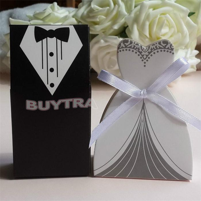 New 100 Pcs Bridal Gift Cases Groom Tuxedo Dress Gown Ribbon Wedding Favor Candy Box(China (Mainland))