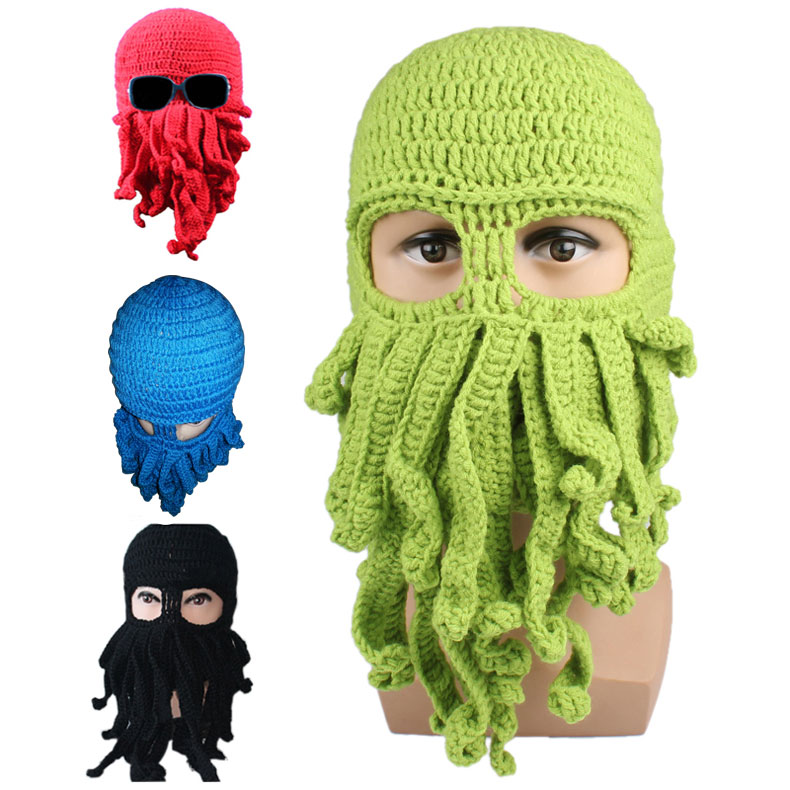 Pattern Beanies Winter Warm Knitted Wool Ski Face Mask Knit Hat Squid ...
