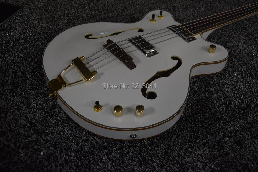 factory top quality Good Cheap Price Gretsch G6136LSB 4 Strings Bass Guitar White Paint Semi-hollow Body In Stock(China (Mainland))