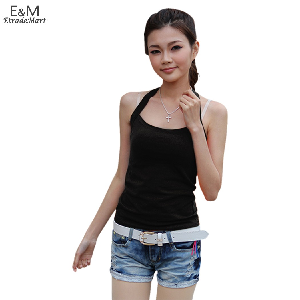 1Pcs Drop/FreeShipping Slim Fashion Active Women Halter Neck T-Shirt Solid Camisole Vest Ladies Tops Black/White/Orange SV004008(China (Mainland))