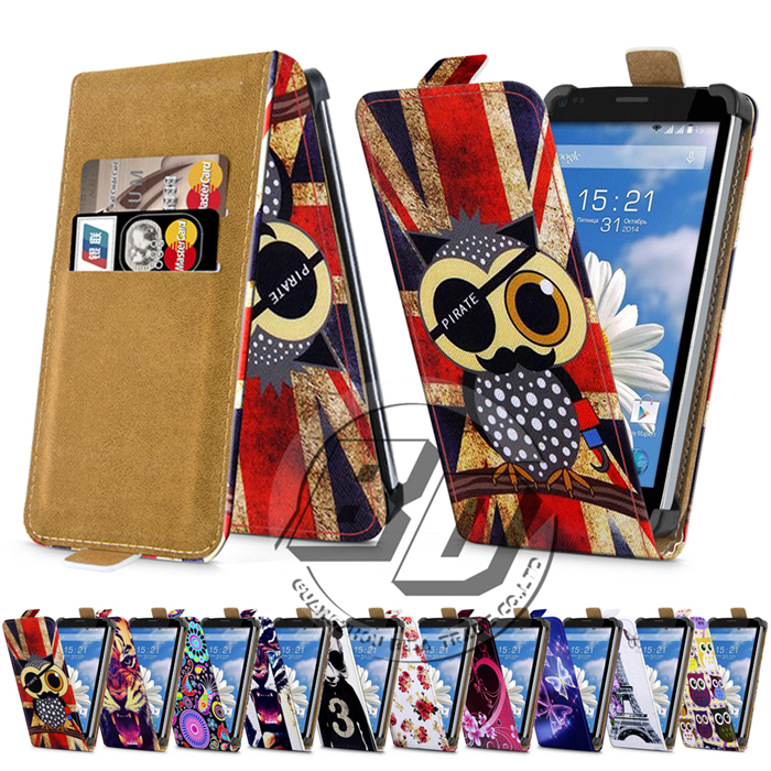 Fly IQ4505 Quad Era Life 7 Case Universal 5 Inch Phone Flip PU Leather Printed Cases Cover With Card Slots for fly iq 4505(China (Mainland))