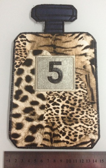 /24*14cm/ Leopard grain perfume bottles patches Leather embroidery accessories Patches sew-on patch/ - fantine li's store