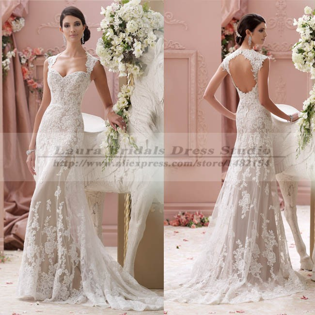 Vestidos de noiva sereia vintage sexy open back lace for Vintage lace wedding dress open back
