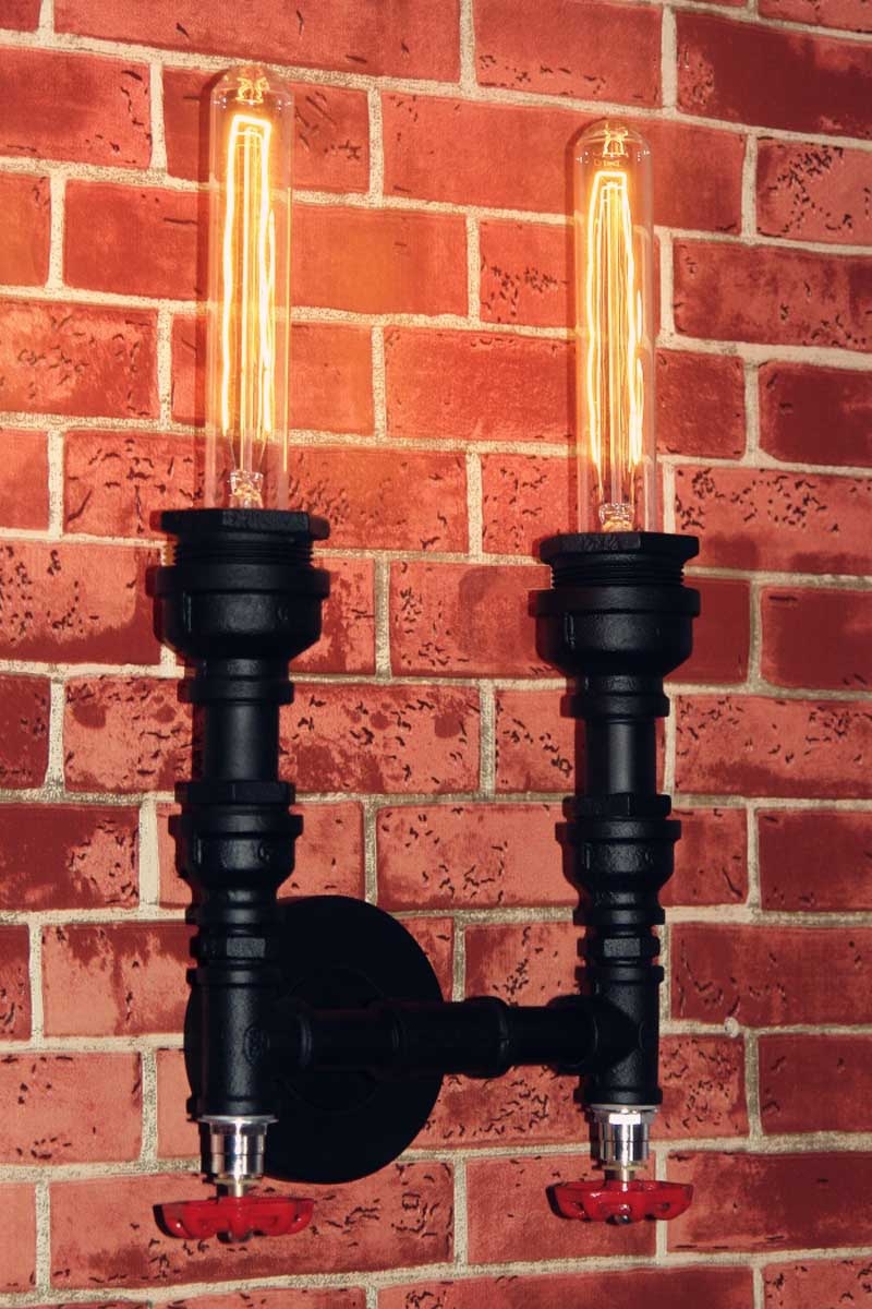 Loft Vintage Industrial American Water Pipe Edison LED Double Wall Sconce Lamp Resturant Hotel Bar Stair Home Decor Lighting