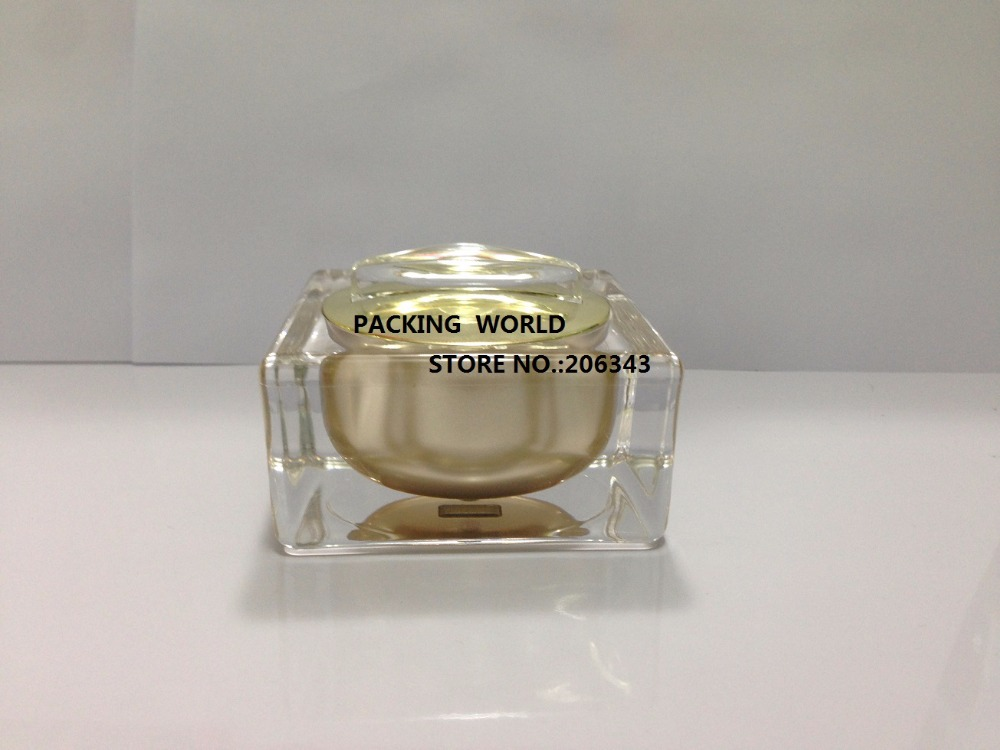 30g luxurious acrylic gold square shape cream jar, plastic jar  or cosmetic jar  ,Cosmetic Packaging<br><br>Aliexpress