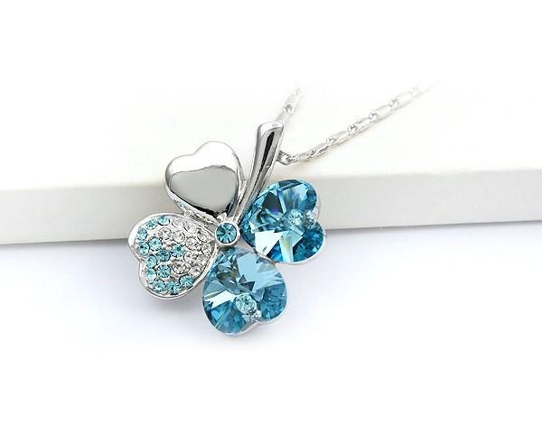 Collares y colgantes del corazón de la suerte de cuatro hojas del trébol Wish Jewelry por con Swarovski Elements collar de gargantilla para mujeres en