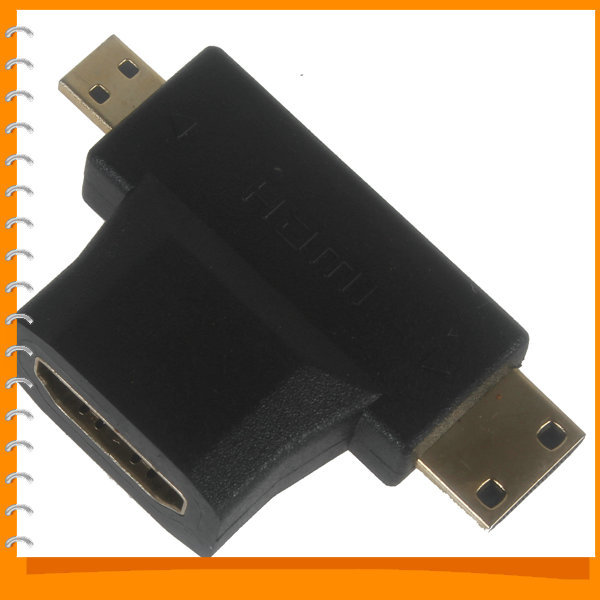 3-in-1 Micro USB HDMI Male + Mini USB HDMI Male to HDMI 1.4 Female Extension Cable Adapter(China (Mainland))
