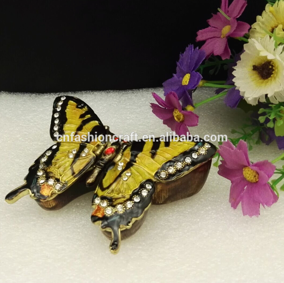 butterfly magnet box hinged box enamel box metal box jewelry pewter rhinestone box(China (Mainland))