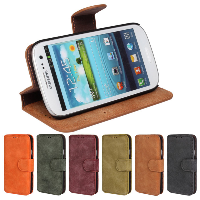 Luxury Wallet Flip Cover Case For Samsung I9300 Galaxy SIII S3 Cell Phone S 3 PU Leather Case with Card Slot Christmas Promotion
