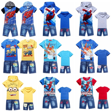 New Fashion 2014 Summer Boy's Tracksuit Spider Man Children Hoodies + Denim Shorts for Boys Casual Cotton Suit Boy Clothing Set(China (Mainland))