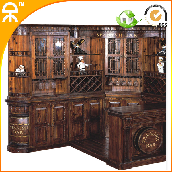 (1 bar table +1 wine cabinet )Classical carving wooden bar furniture set CE-BT-2(China (Mainland))
