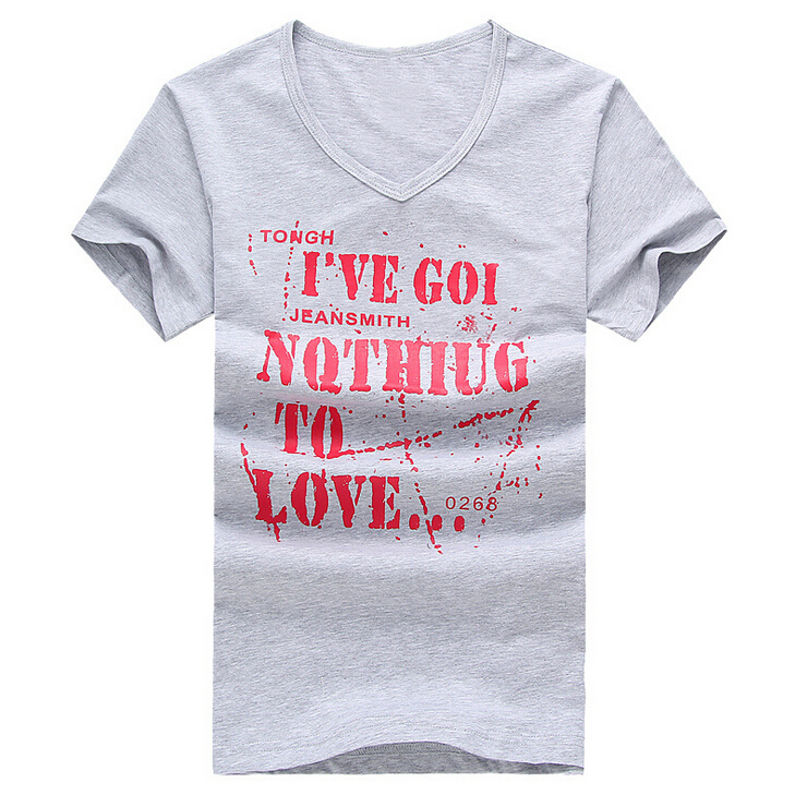 Fashion Cotton Mainly Material Slim Fit V-Collar Style Hot Sale Men's Summer Short Sleeve T-shirt(China (Mainland))