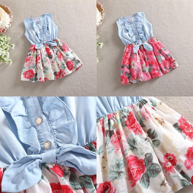 2-7 Year Kids cute Princess Jean Denim floral dress, Bow butterfly Big Flower Ruffled Children Girls Dresses Sundress costume(China (Mainland))