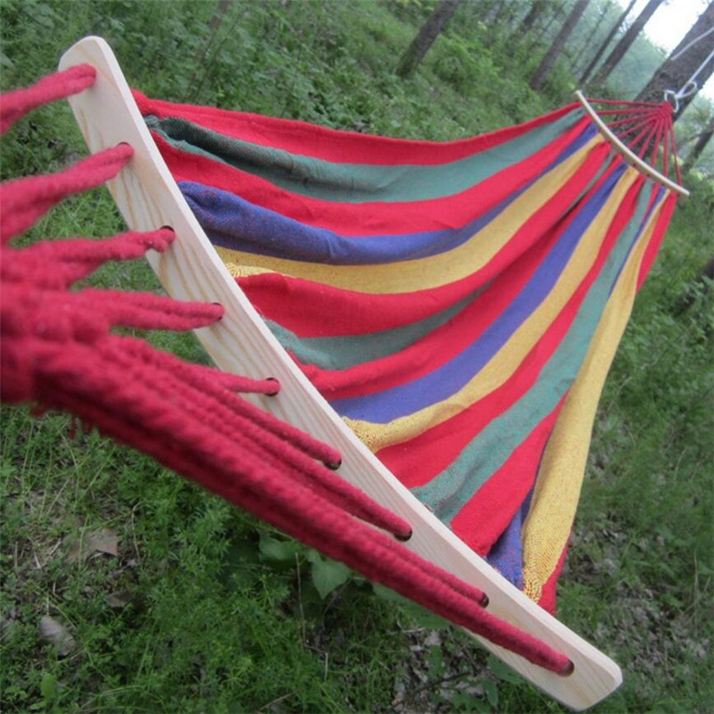 250*150cm 2 People Outdoor Canvas Camping Hammock Bend Wood Stick steady Hamak Garden Swing Hanging Chair Hangmat Blue Red(China (Mainland))
