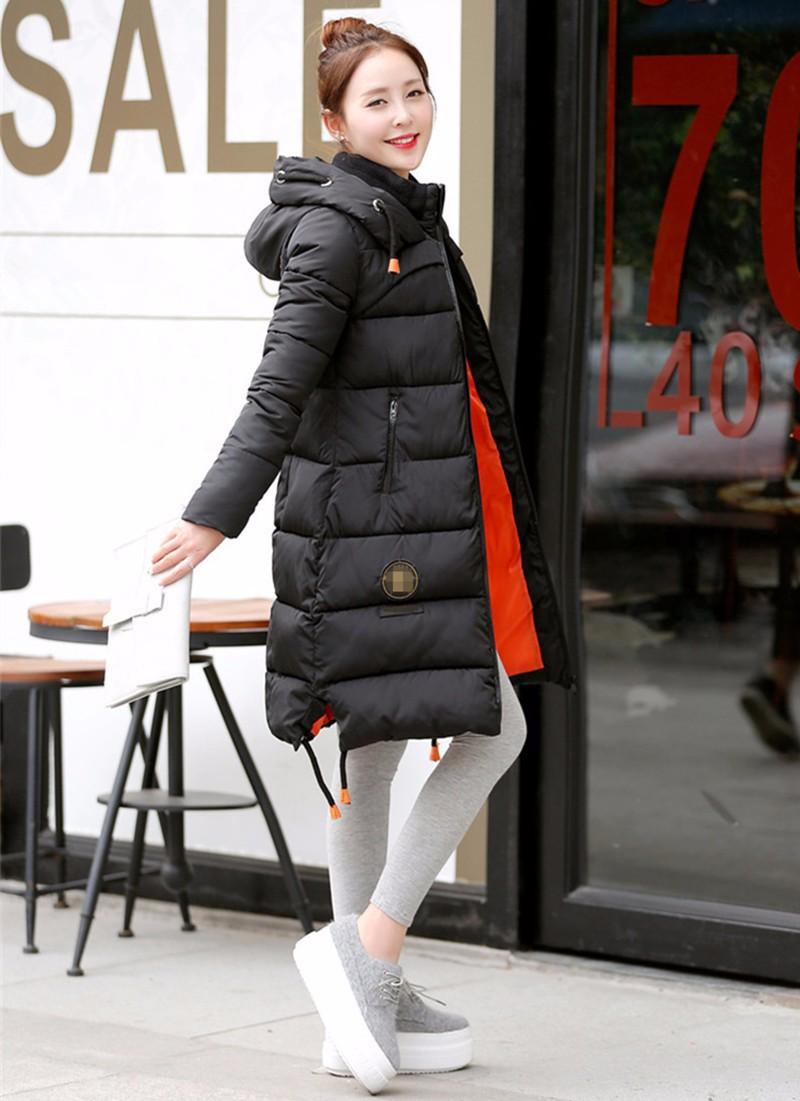 Скидки на 2016 женщин Серый Duck Down Зимняя Куртка. теплый Держать Верхней Одежды Длинный Толстый Капюшоном Пальто Хлопка Slim Down & Парки Jaqueta Feminina