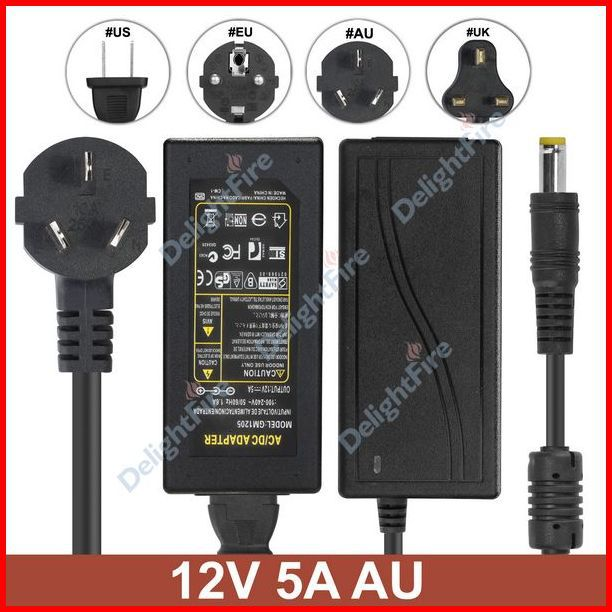 ( 10 pcs/lot ) AC Converter Adapter DC12V 5A 60W Power Supply + AU Plug AC Power Cable For 3528 5050 LED Light LCD Monitor CCTV<br><br>Aliexpress